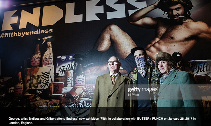 "Endless with Gilbert & George at the opening of ""Filth""."