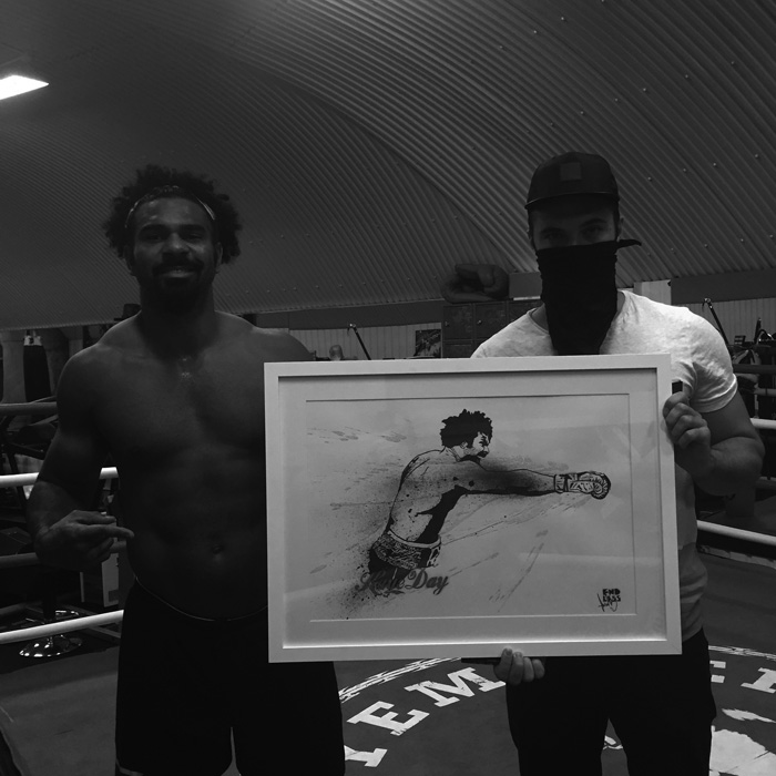David Haye and Endless with commissioned artwork.